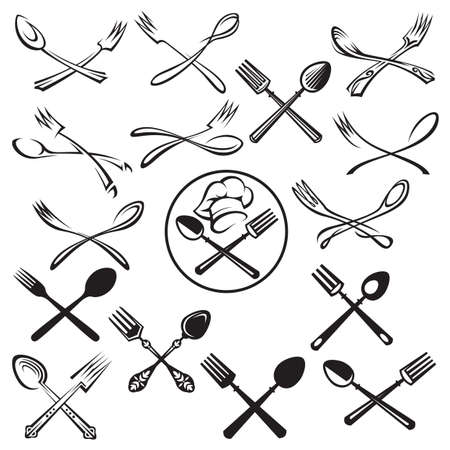 black illustration of spoon, fork and chef hat Imagens - 48246742
