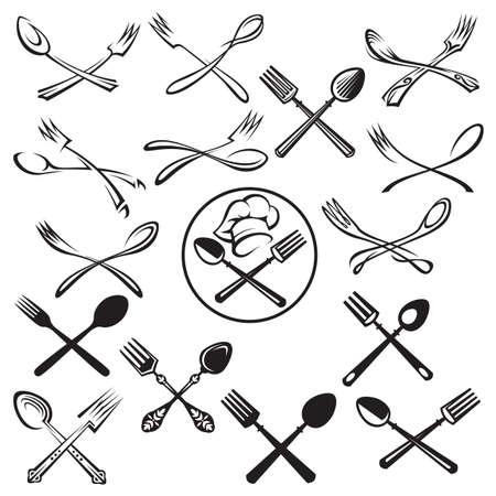 cuchara: Ejemplo negro de cuchara, tenedor y el sombrero del cocinero