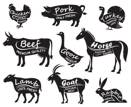monochrome illustration of nine farm animals Vectores