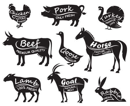 monochrome illustration of nine farm animals 向量圖像
