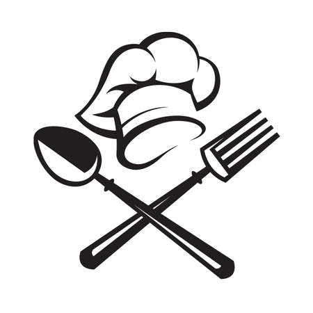 black illustration of spoon, fork and chef hat Stock Vector - 48395698