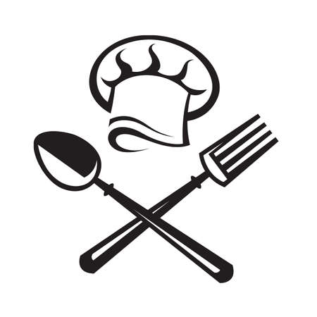 cutleries: black illustration of spoon, fork and chef hat