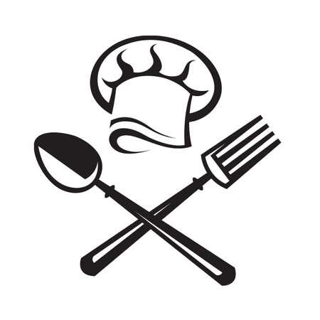 Zwarte illustratie van de lepel, vork en chef hoed Stockfoto - 48395703
