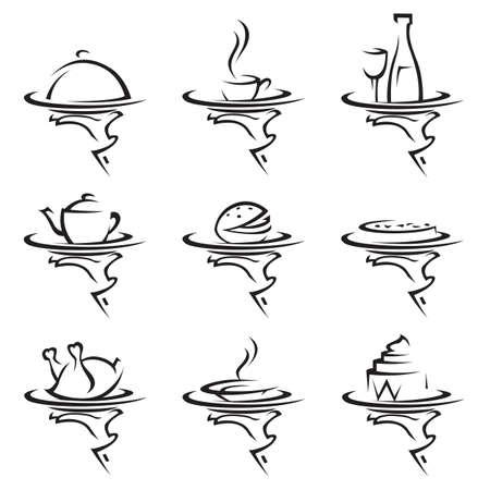 Satz von neun Restaurants Icons mit Tablett in der Hand