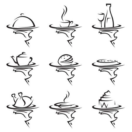 set of nine restaurants icons with tray in hand