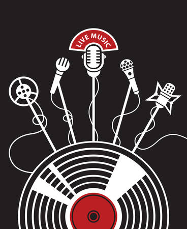 microphone: illustration with microphones and vinyl on a black background