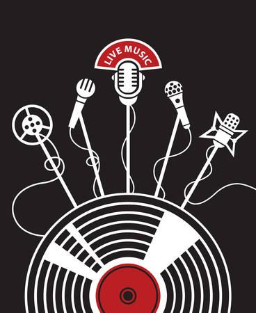microfono antiguo: ilustración con los micrófonos y de vinilo sobre un fondo negro