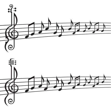 nota musical: ilustración monocromo de notas de la música sobre el pentagrama Vectores