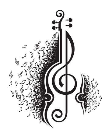 chiave di violino: illustrazione in bianco e nero di note musicali e violino