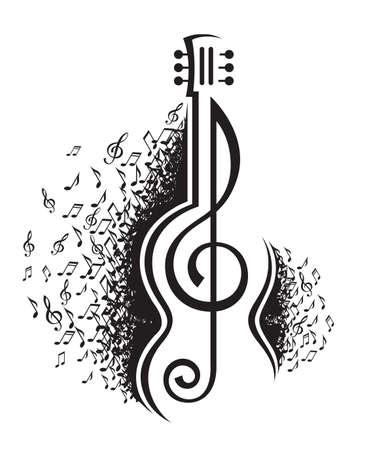 뮤지컬 노트와 기타의 흑백 그림