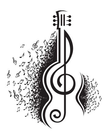 monochrome illustration of musical notes and guitar