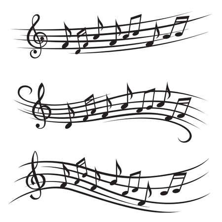 Ilustración monocromo de notas de la música sobre el pentagrama Foto de archivo - 48550935