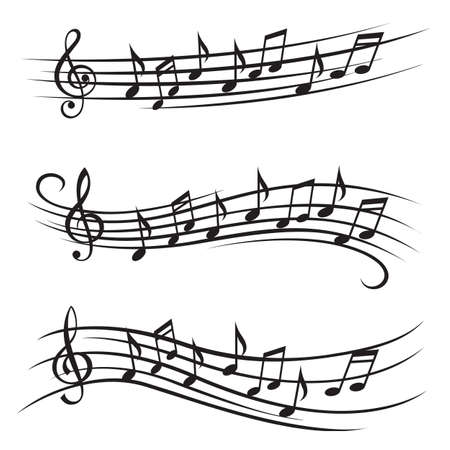 monochrome Darstellung von Musiknoten auf Daube Illustration