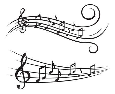ilustración monocromo de notas de la música sobre el pentagrama