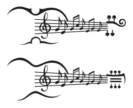 monochrome illustration of music notes on stave