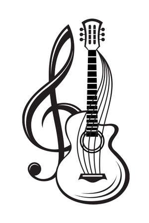 monochrome illustration of treble clef and guitar