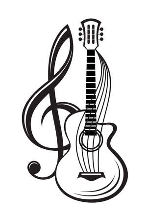 monochrome illustration of treble clef and guitar Stock fotó - 48837536