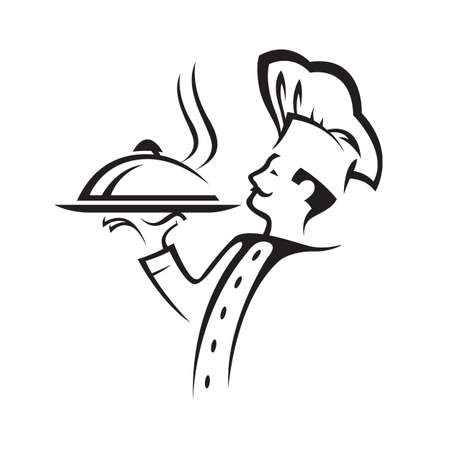 dinner: chef with tray of food in hand Illustration