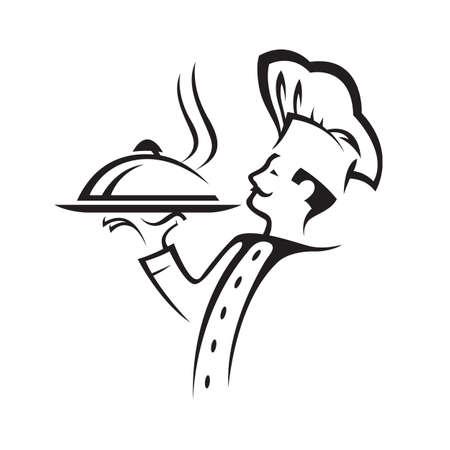 kapelusze: kucharz z tacą jedzenia w ręku Ilustracja