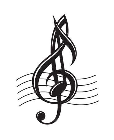 chiave di violino: in bianco e nero illustrazione di note musicali su pentagramma Vettoriali