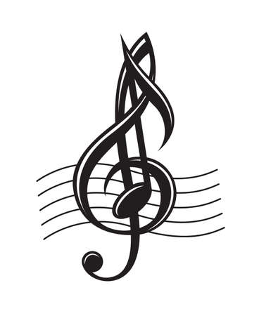Monochrome Darstellung von Musiknoten auf Daube Standard-Bild - 49131184