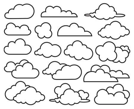 雲のコレクションの白黒イラスト