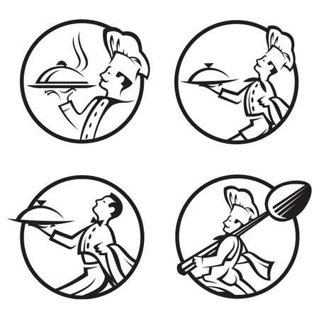 chef caricatura: chef de cocina con la bandeja de comida en la mano Vectores