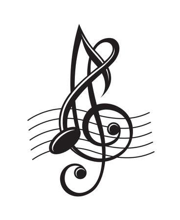 ステーブの音符の白黒イラスト  イラスト・ベクター素材