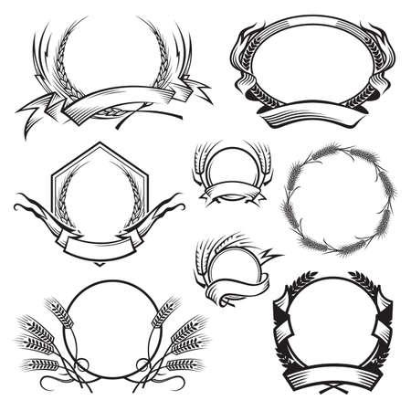 小麦の耳で異なるフレーム白黒イラスト  イラスト・ベクター素材