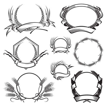 monochrome illustration with different frames with ears of wheat Vectores