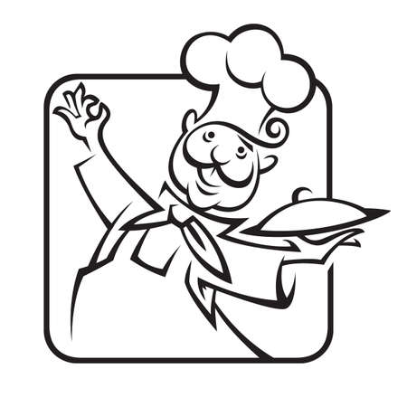 food tray: chef with tray of food in hand Illustration