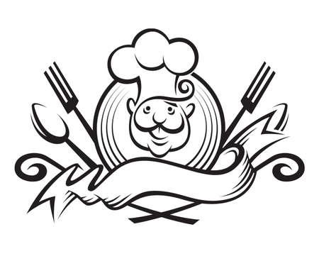ilustración en blanco y negro de un chef con cuchara, tenedor y cinta