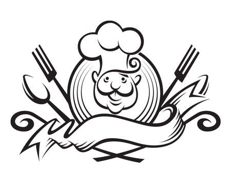 monochrome illustration of a chef with spoon, fork and ribbon