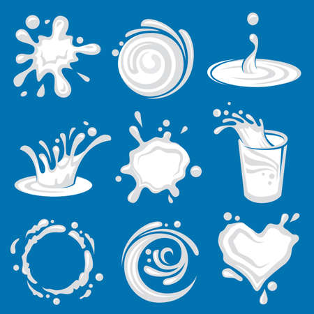 white splashes of milk on blue background Illustration