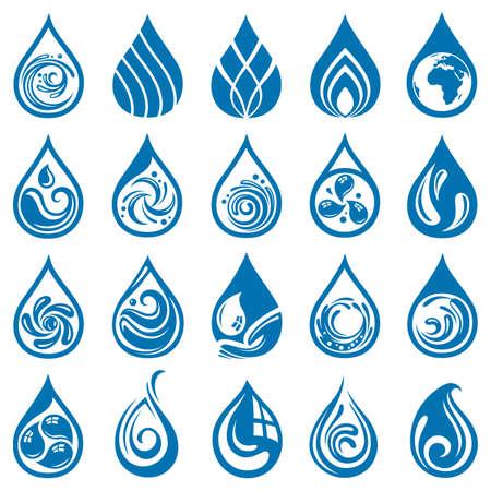gotas de agua: colección de varios iconos de la gota del agua Vectores