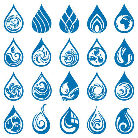 rain drop: collection of various water drop icons