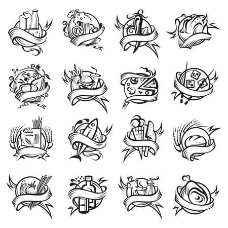 logos restaurantes: Conjunto de diversas banderas de alimentos en blanco y negro Vectores