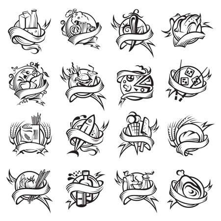 logo poisson: ensemble de différentes bannières alimentaires monochrome Illustration