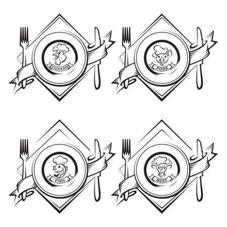 monochrome illustrations of dish with knife and fork