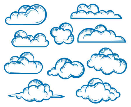 monochrome illustration of clouds collection Vectores