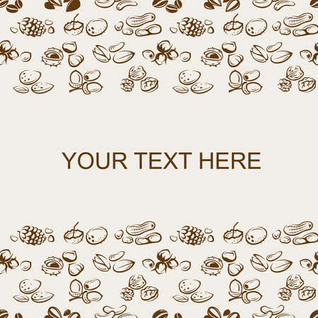 filberts: background of nuts pattern with text