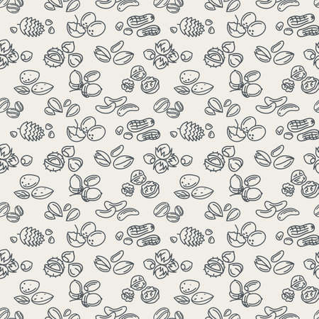 pine nut: seamless background of nuts pattern