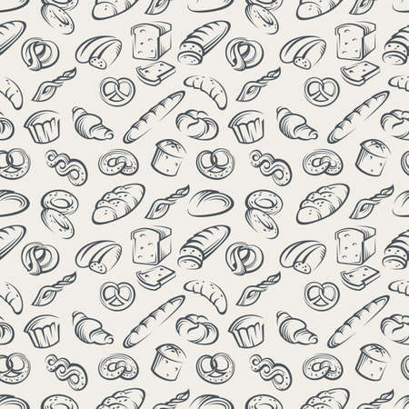 illustration of seamless background with bread
