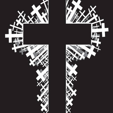 abstract illustration of religious cross on black background