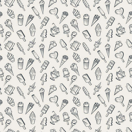 dessert: seamless background of various ice cream Illustration