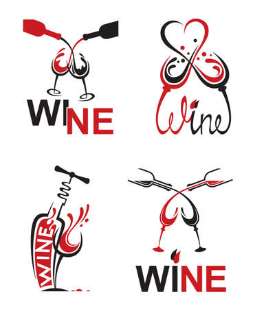 set of glasses with red and white wine Illustration