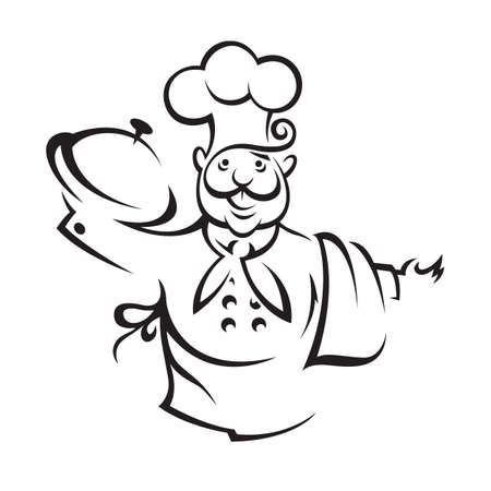chef with tray of food in hand Иллюстрация