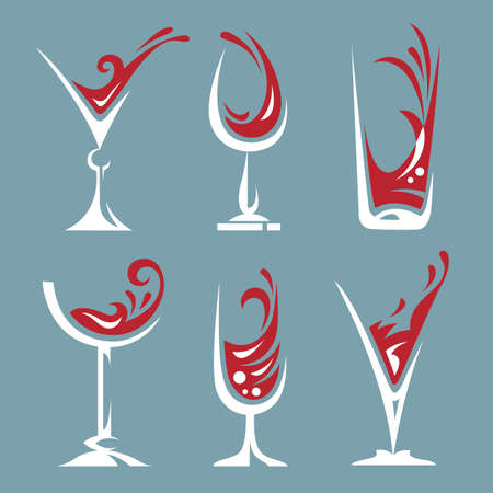 liqueur: set of wine and liqueur glasses