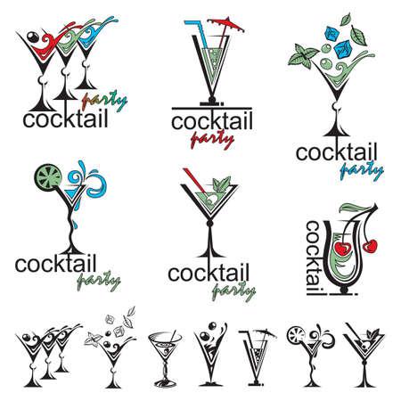 coquetel: conjunto de diferentes copos de cocktail de cor Ilustração