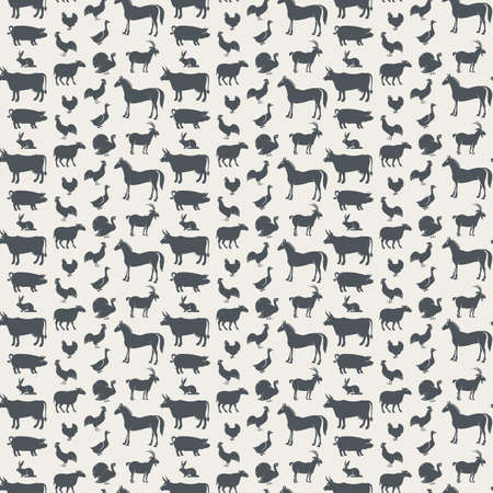 veal: seamless background of various farm animals Illustration